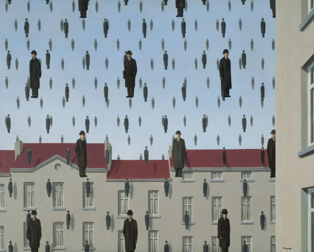An image of Rene Magritte's Golconda