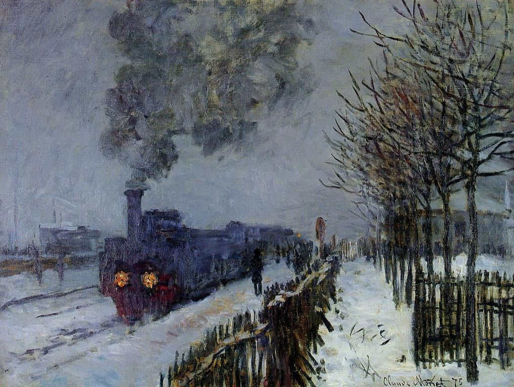 A painting by Monet of a train in the snow.