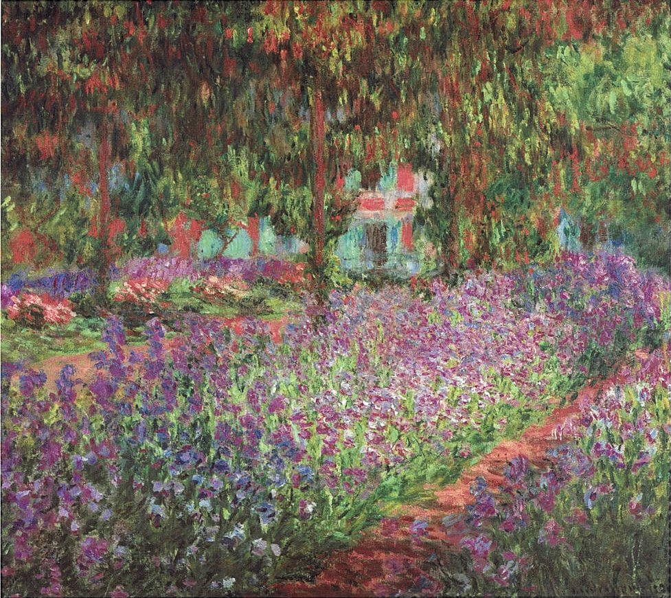 A colourful painting by Monet featuring pink and purple flowers and lush green trees.