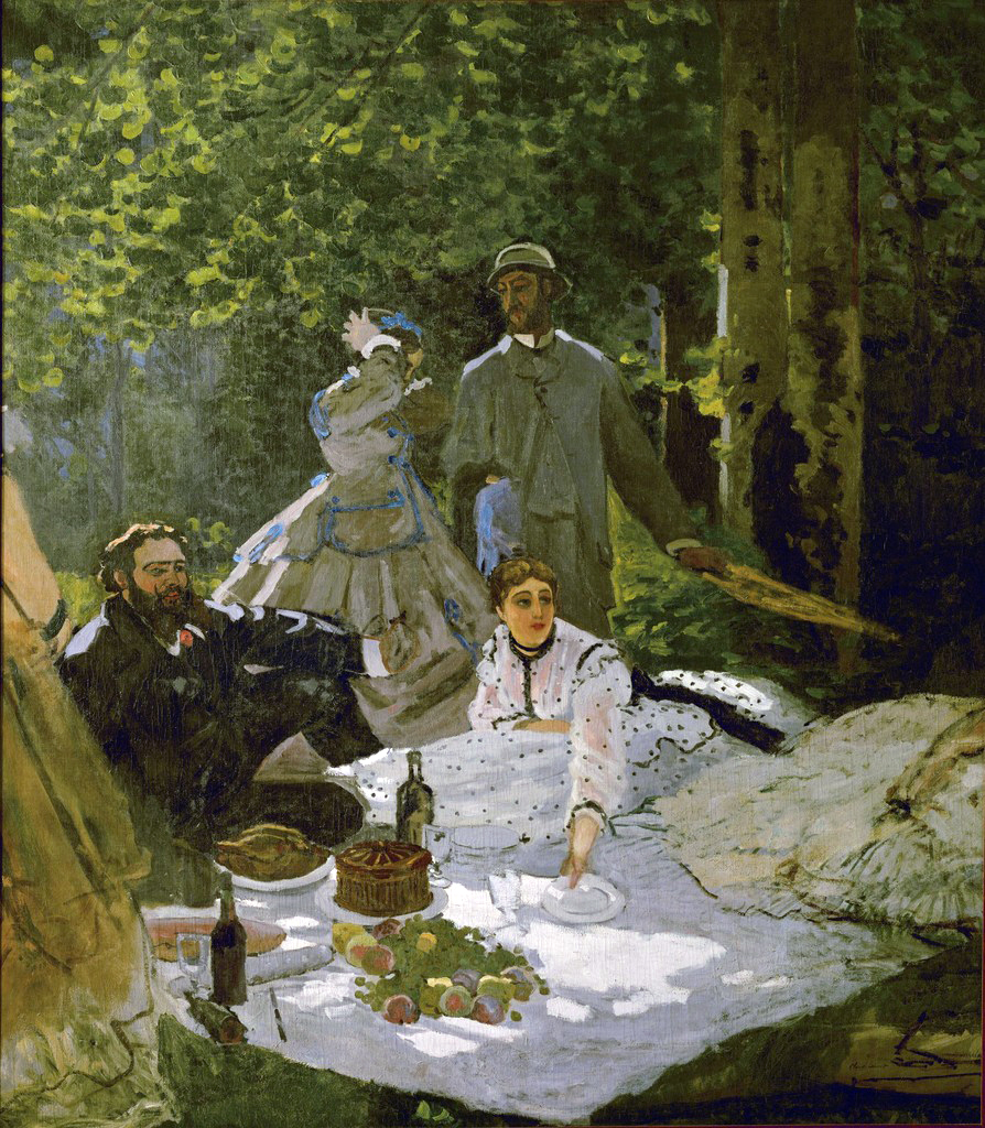 A painting by Claude Monet inspired by his friend Manet, which he was hoping to submit to the 1867 Paris salon. It features a group of people enjoying a picnic outside.