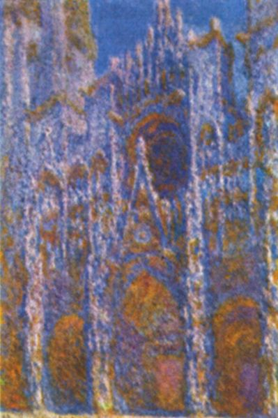 A slightly grainy, almost orange and blue depiction of Rouen Cathedral by Monet.