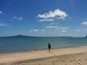 Mr C with Rangitoto island in the background