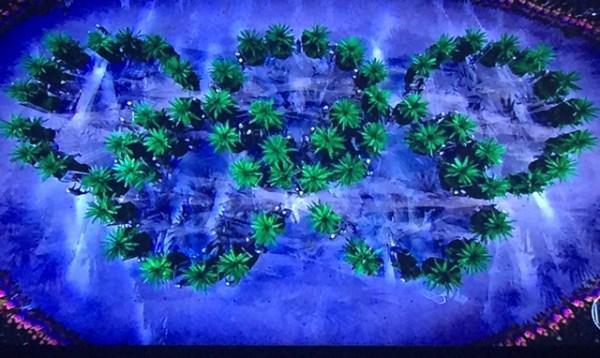 Aros Olímpicos feitos com pequenas árvores.