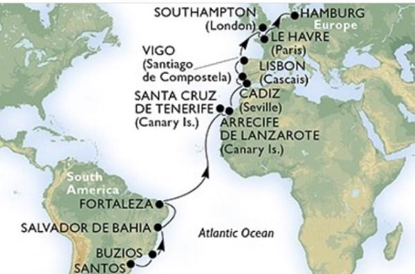 Itinerário da Travessia de Santos a Hamburgo a bordo do MSC Splendida.