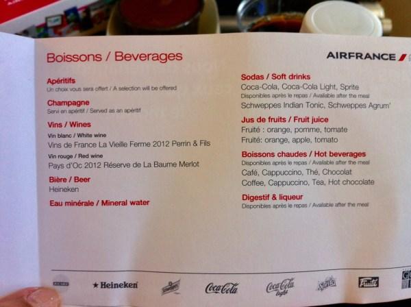 Cardápio de bebidas durante o voo com o A380 da Air France. Foto: AMF / Blog Tirando Férias