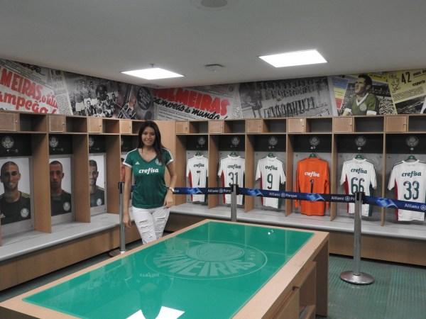 Vestiário do time do Palmeiras, no Allianz Parque. Foto: AMF / Blog Tirando Férias