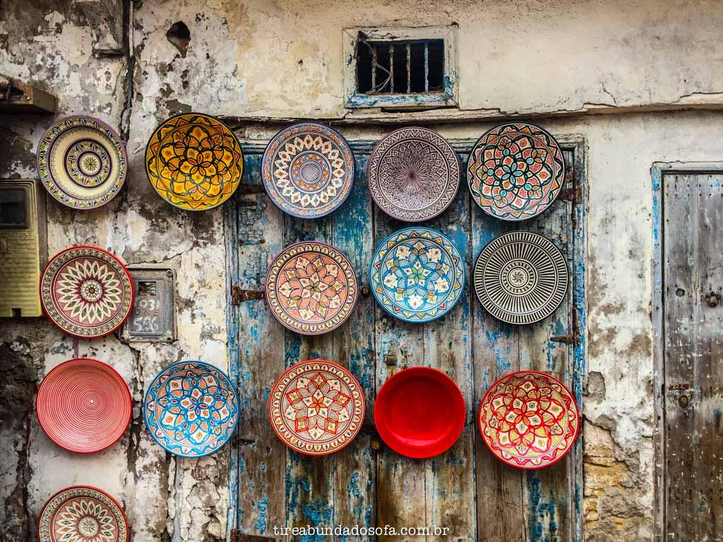 pratos artesanais marroquinos, em essaouira