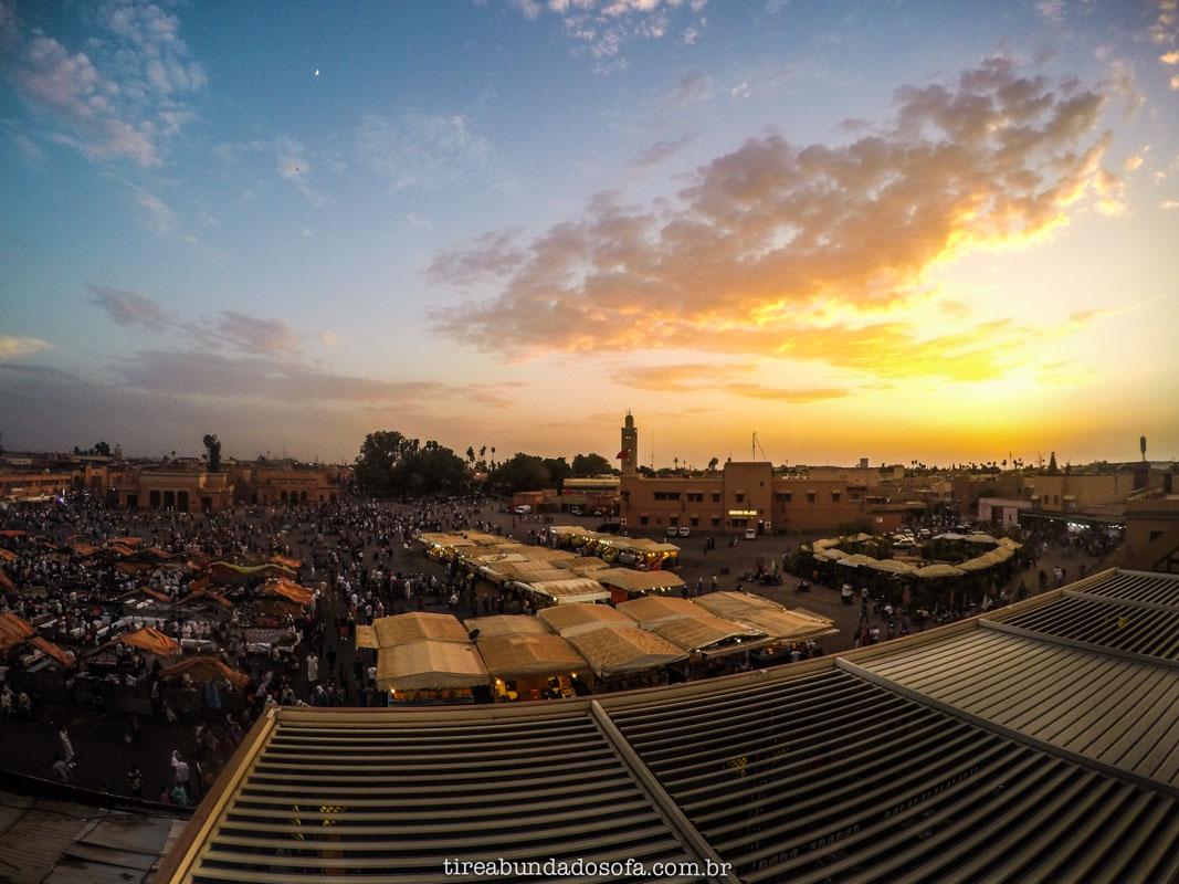 pôr do sol em marrakech