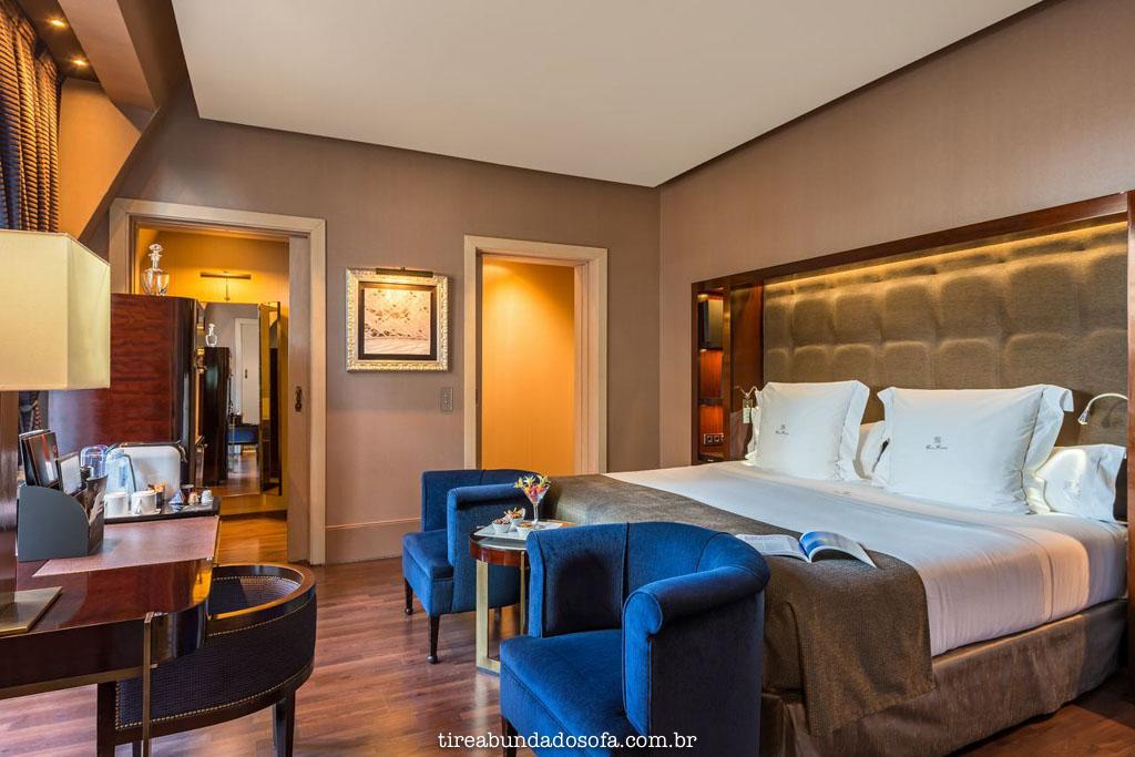 Quarto luxuoso do hotel casa fuster, em barcelona, espanha