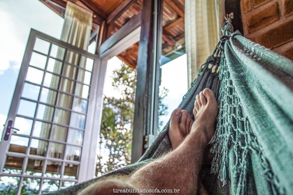 Descansando na rede do Chalé do Sérgio, em Carrancas, Minas Gerais
