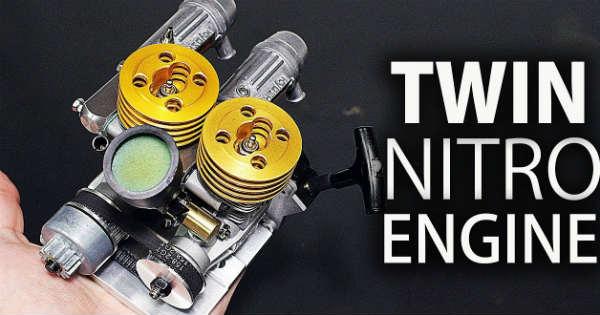 Twin Nitro Engine small diy scratch assemble 1