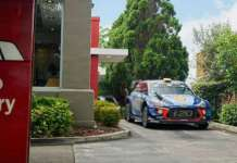 WRC Car Drive Thru Through KFC Hyundai i20 1