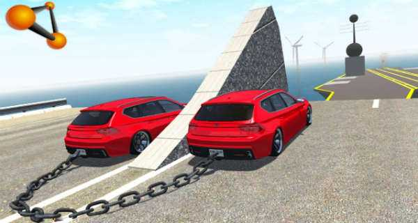 Chained Cars vs Big Ramp 1