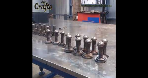 DIY Chess Set Using Screws Nuts And Washers 1