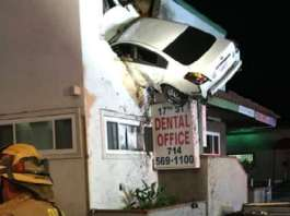 This Car Launched Itself On The Second Floor Of A Building in California 2