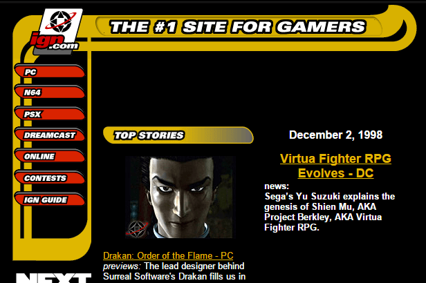 When new games like Virtua Fighter RPG (which eventually became Shenmue) surfaced, Games Journalism was the first online with the news
