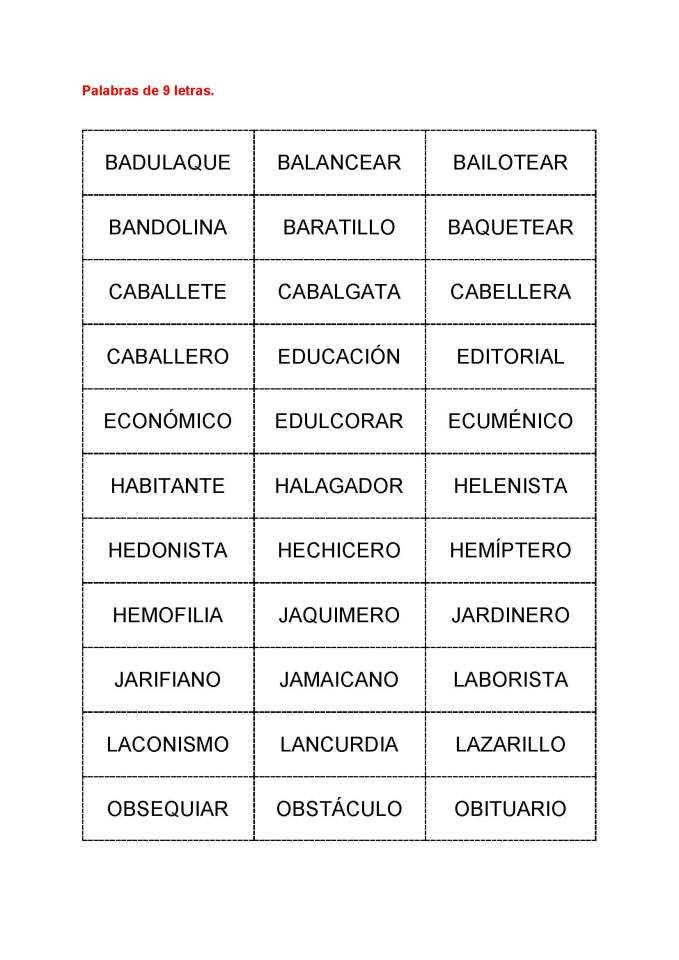 Palabras de 9 letras para el Ejercicio de Tiro EBdT2 Scrabble, por Jorge Tierno Rey - 28DIC11