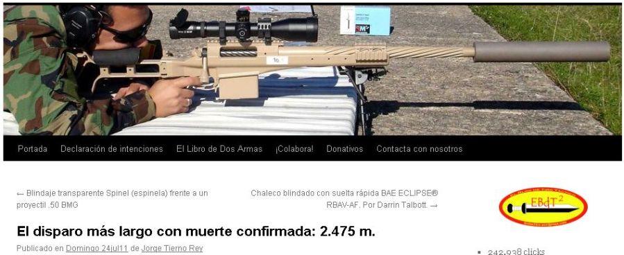El disparo más largo con muerte confirmada: 2.475 m.