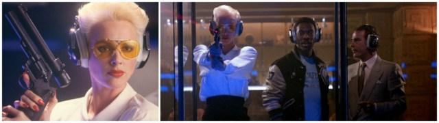 En la película Superdetective en Hollywood II (987). Karla (Brigitte Nielsen) con su Revólver Apuntado por Láser LPC Modelo 7 [LPC Model 7, Laser-Aimed Revolver], un Colt Trooper en calibre .357 Magnum