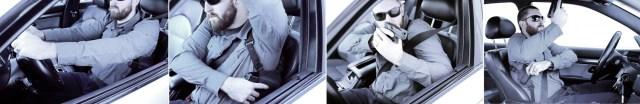 Funda pistolera sobaquera Spectre de Gunfighters Inc en vehículo