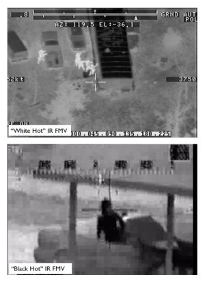 Imágenes de la cámara térmica de un OH-58 Kiowa.