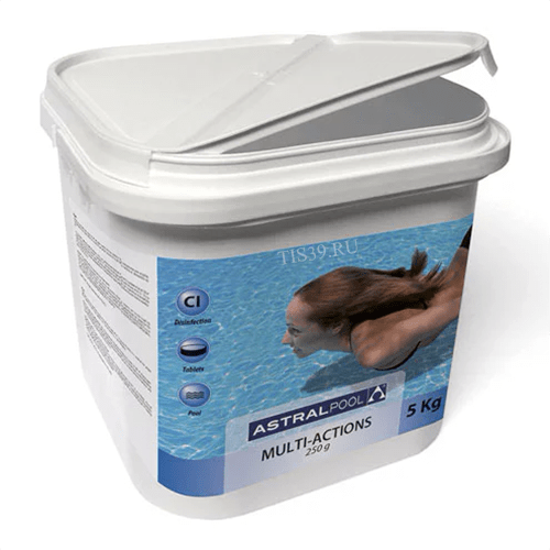 AstralPool мультихлор ,комплексное средство в таблетках по 250 г.,упаковка 5 кг