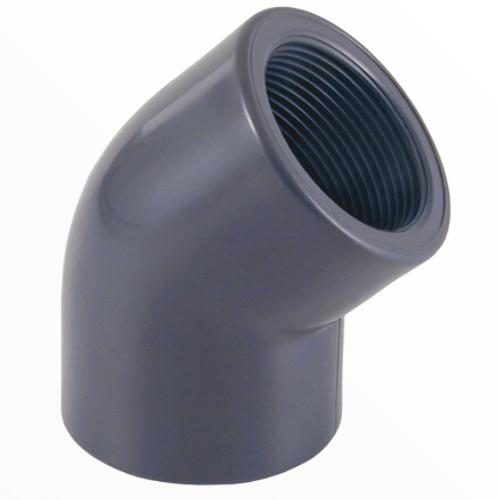 Угол клеевой ПВХ 45º градусов с внутренней резьбой