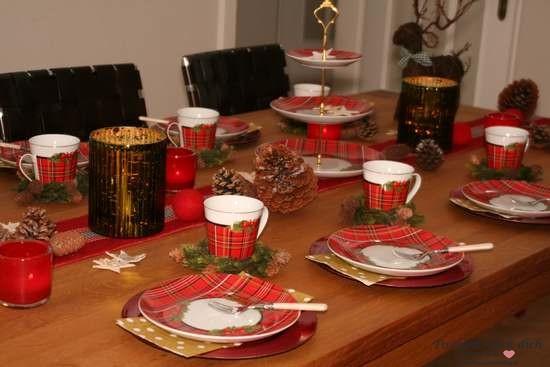Tischdekoration Weihnachten im Schottenrock