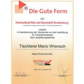 Zertifikat für gute Ausbildung - Die Gute Form - Tischlerei Mario Wrensch
