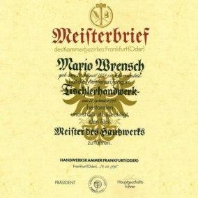 Meisterbrief - Mario Wrensch