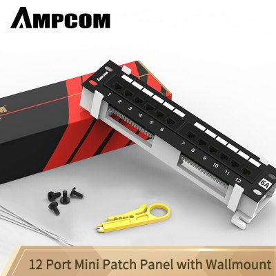 AMPCOM 12-Port UTP Mini Patch Panel with Wallmount Bracket Included Black 1