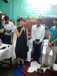 Wife of US Consul general Craig Hall, Mrs Meeryung Hall, sings for the girls on the occasion of the inauguration of the new Beauty Training Salon at Tiljala SHED