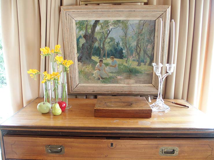 French painting and tired freesias.