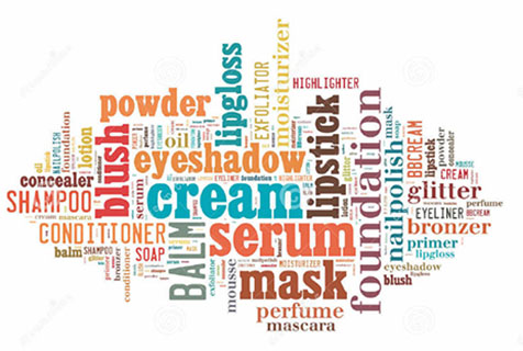 Collage beauty product words