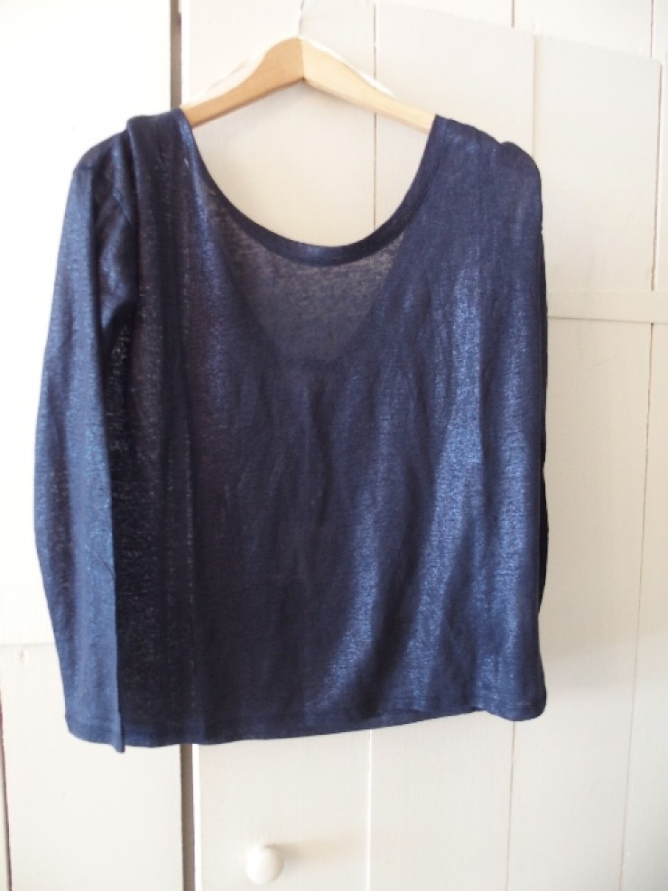 Navy linen metallic tee
