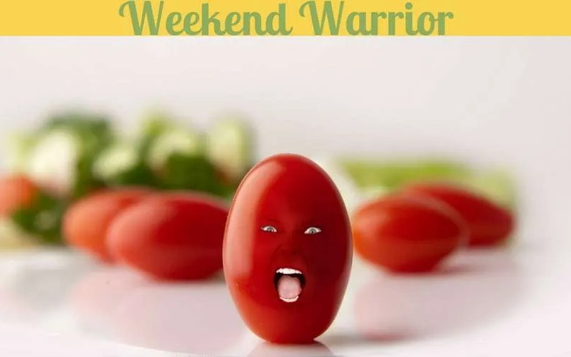 The Weekend Warrior is depicted as an angry tomato.
