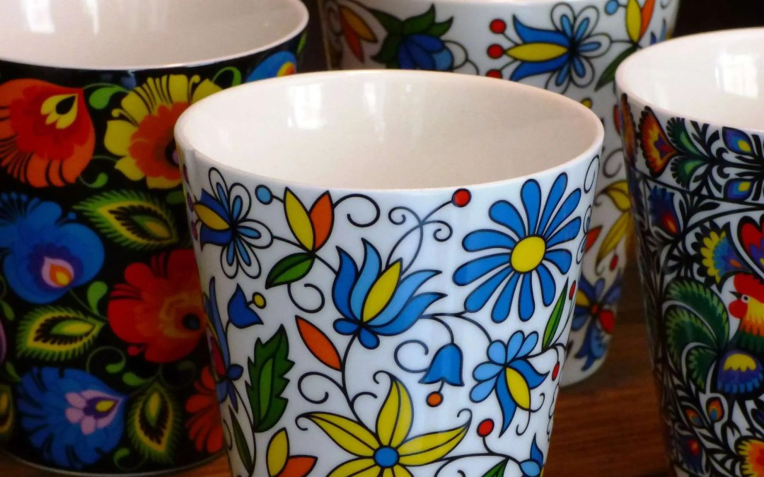 Brightly coloured mugs