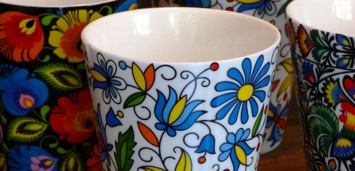 Brightly coloured mugs