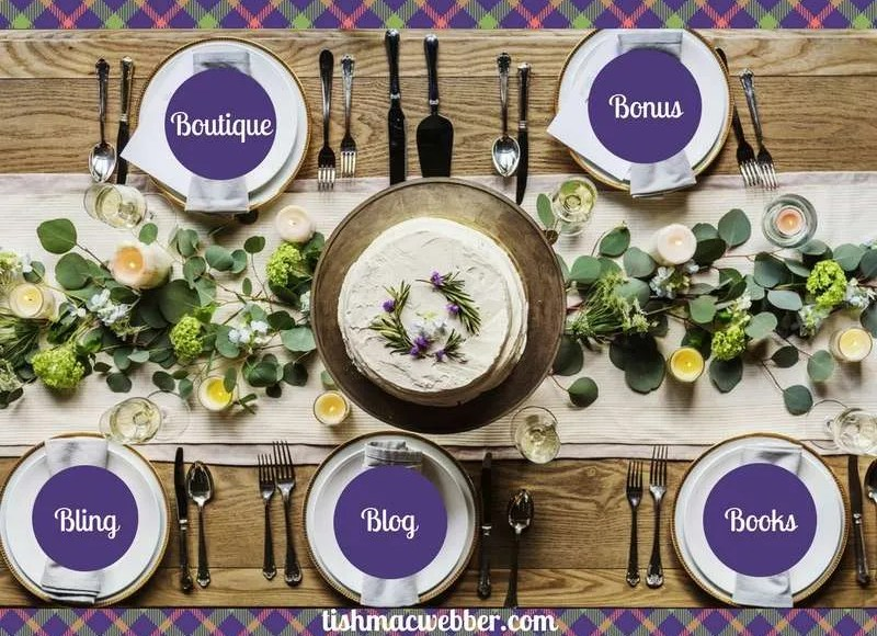 Table set for 5. Each Plate has a word. Bling, Blog, Books, Boutique & Bonus