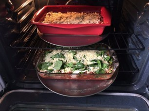 His & Hers Lasagna going in the oven.