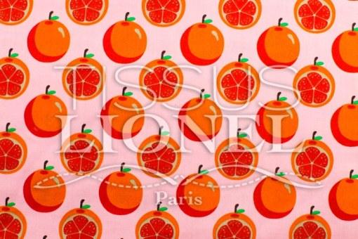 Coton imprime Fruits and co Orange fond rose