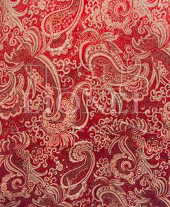 Jacquard red and silver lurex