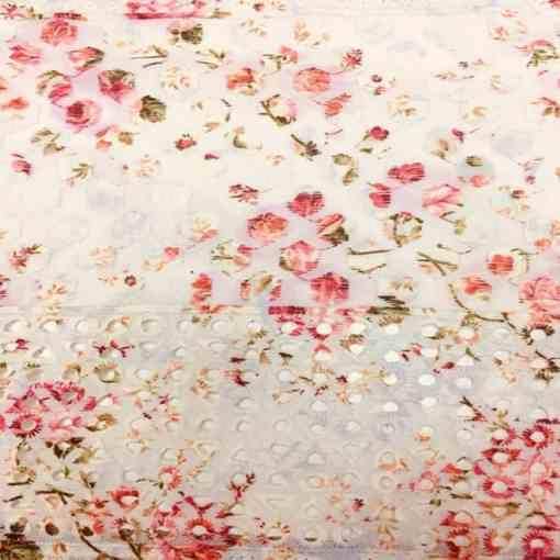Broderie anglaise imprimé fleuris fond écru rouge