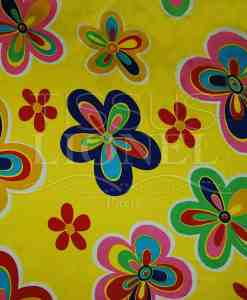 carnival colorful flowers on yellow background