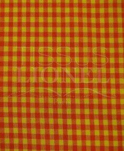 coton imprimé vichy orange et jaune 021