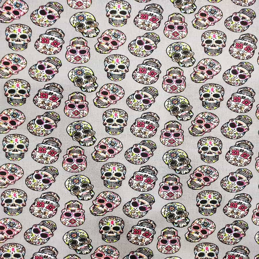 Tissu coton calavera multicolors fond gris