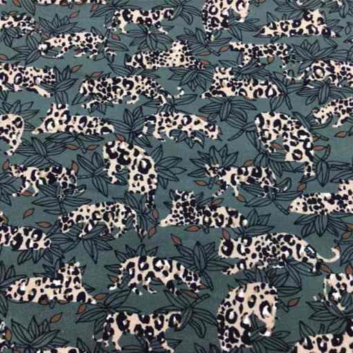 Tissu gabardine de coton leopard ton vert