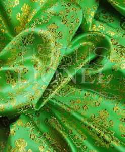 jacquard lurex vert anis et or