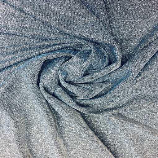 Jersey lamé polyester caméléon ciel changeant argent
