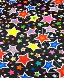 Lycra imprimé étoiles multicolors